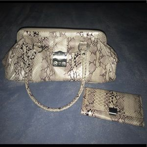 Never used faux snake skin purse and wallet. NY&C